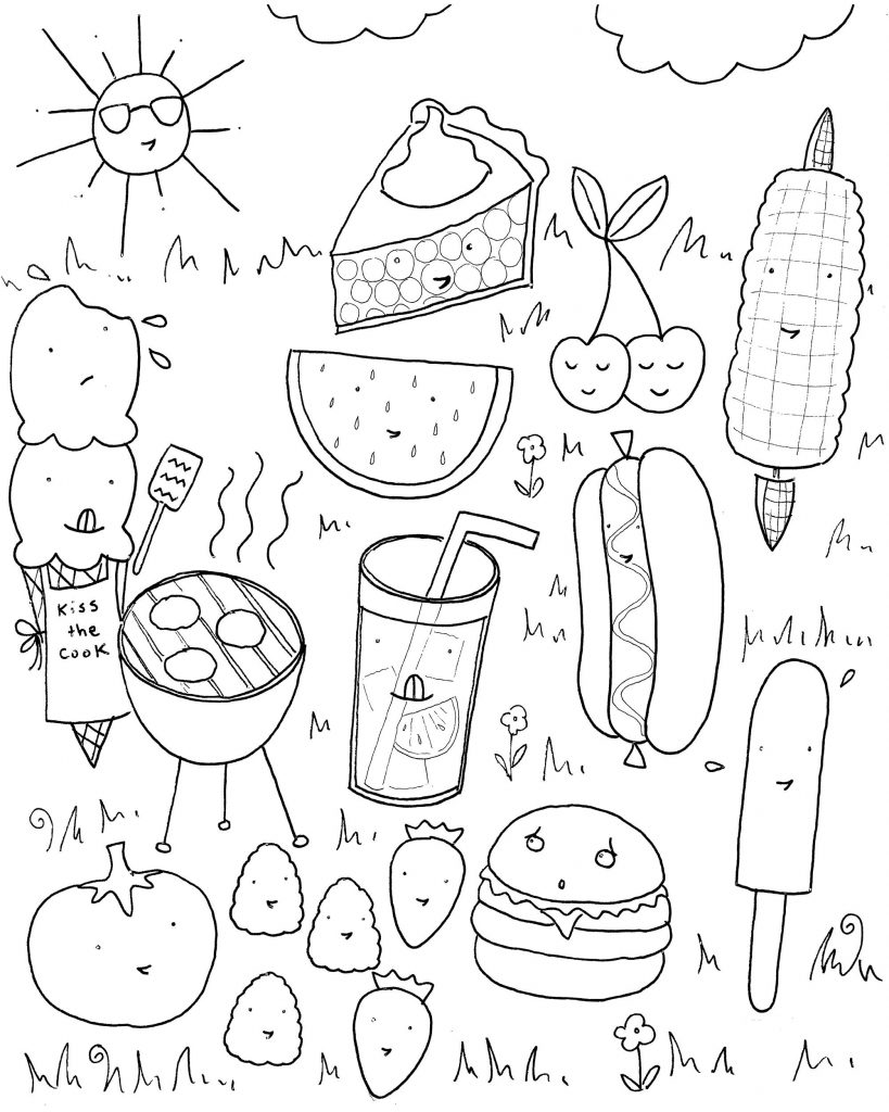Summer Foods Coloring Pages