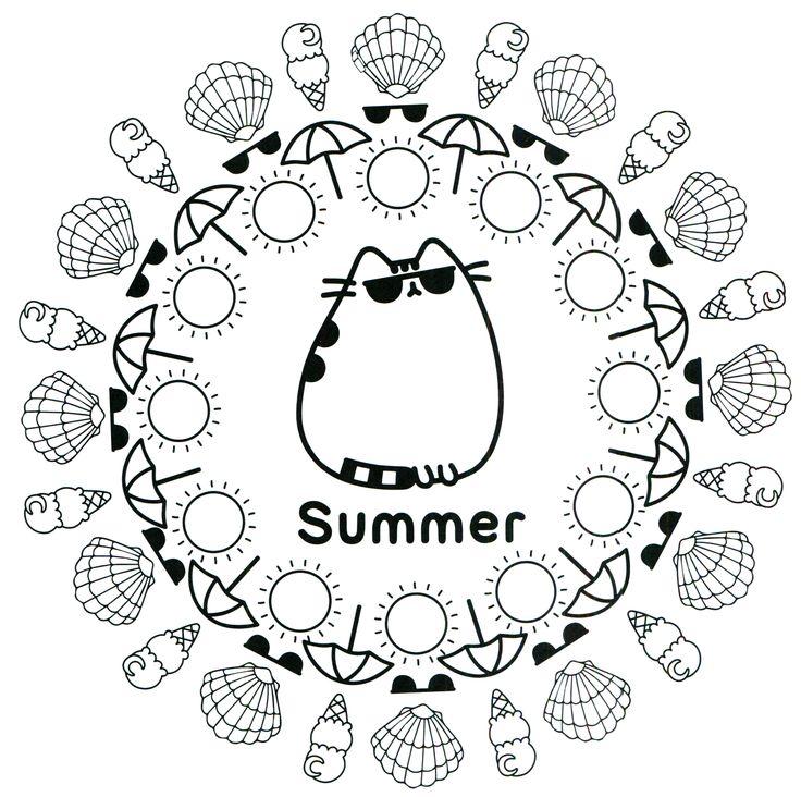 Summer Pusheen Mandala Coloring Page