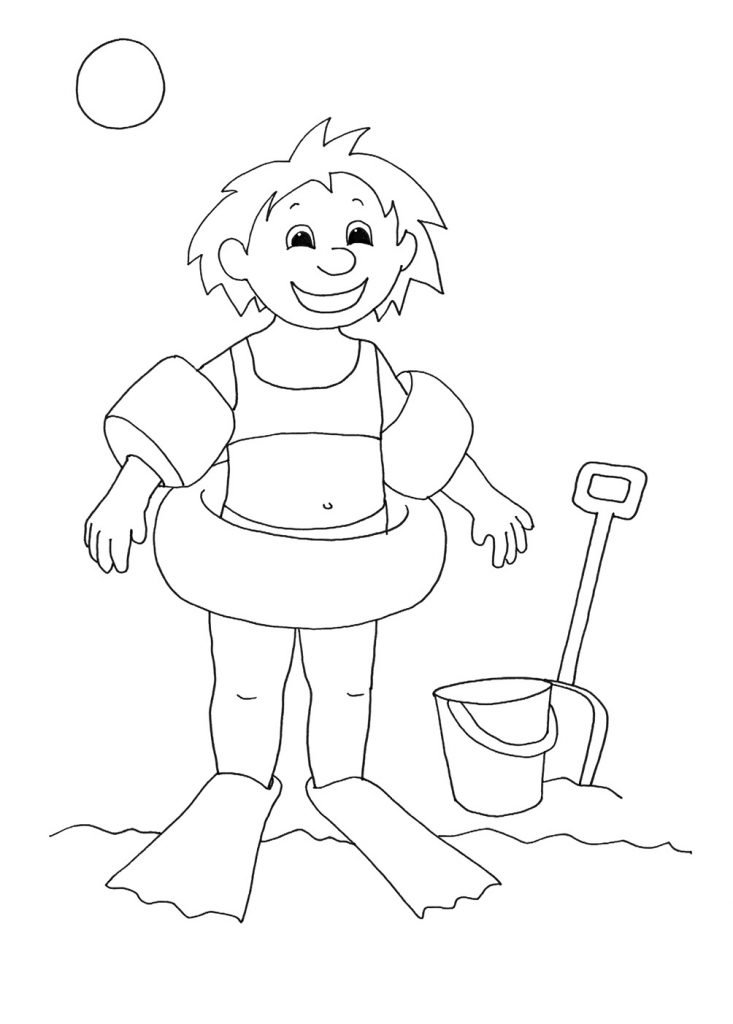 Summer Swimming Coloring Page