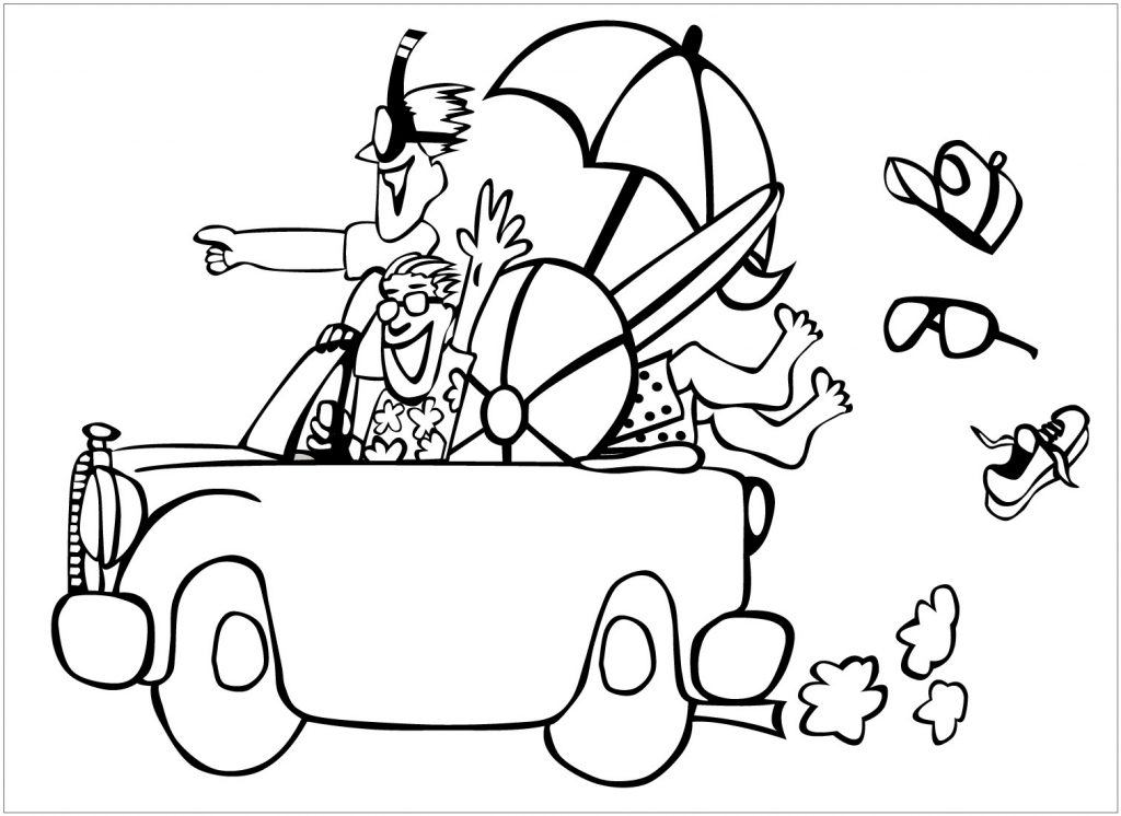 Summer Trip to the Beach Coloring Page