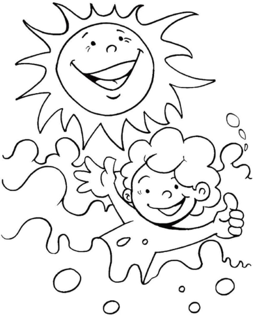 Sun and Swim Coloring Page