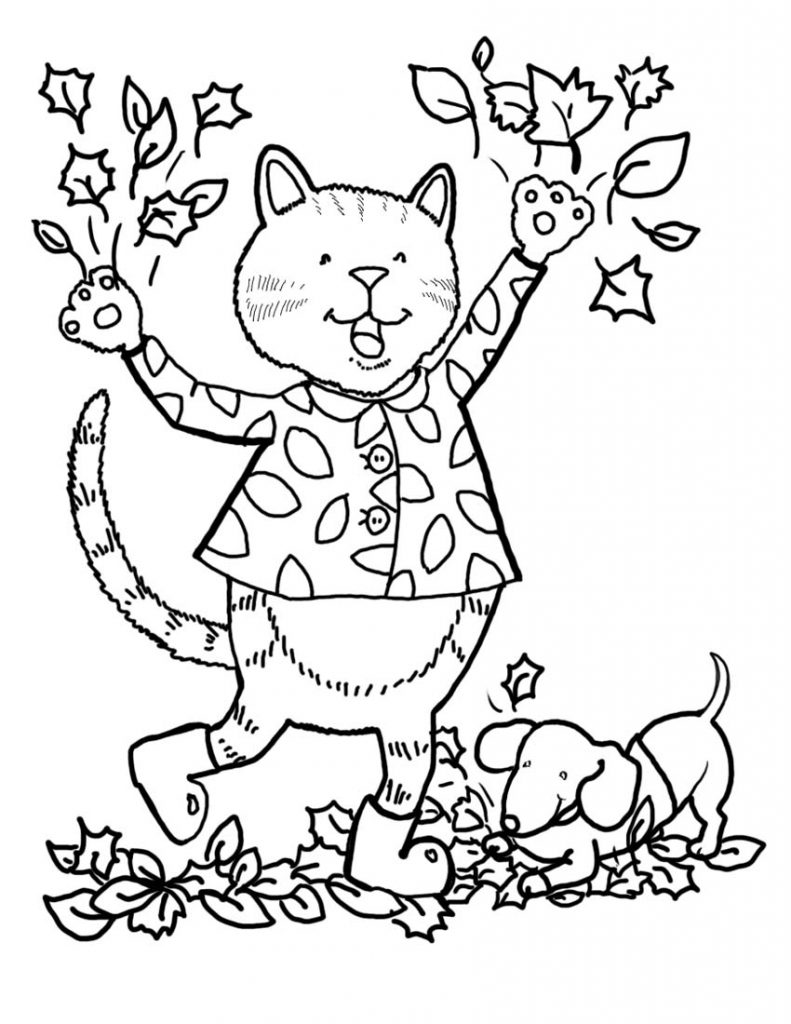 Cat And Pet Dog Fall Leaves Coloring