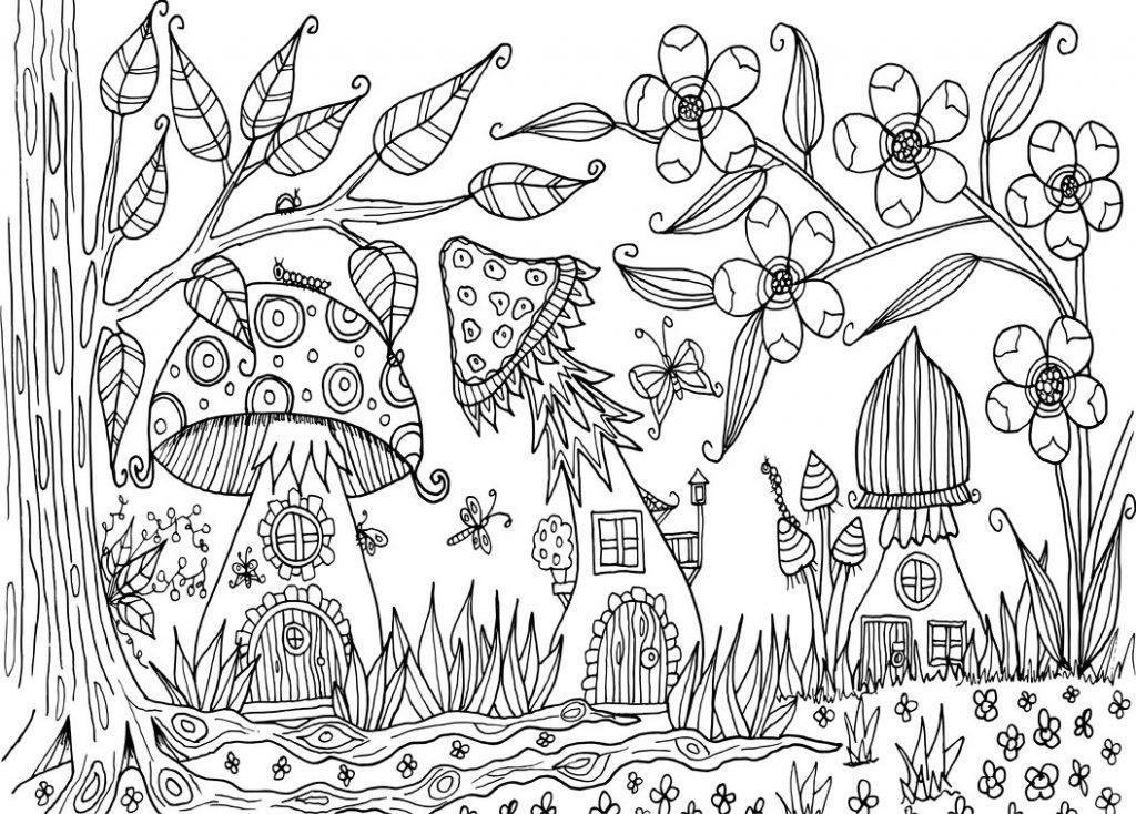 Mushroom Village in Fall Coloring