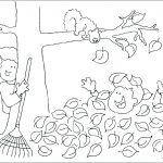 Playing in Fall Leaves Coloring Page