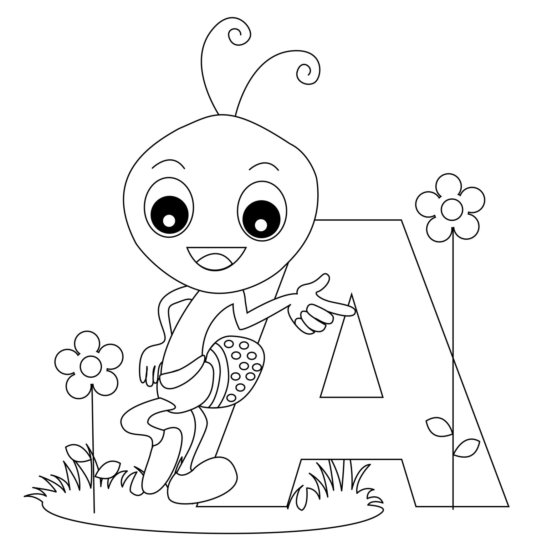 Printable Cartoon Worksheets : Free printable alphabet coloring pages for kids best