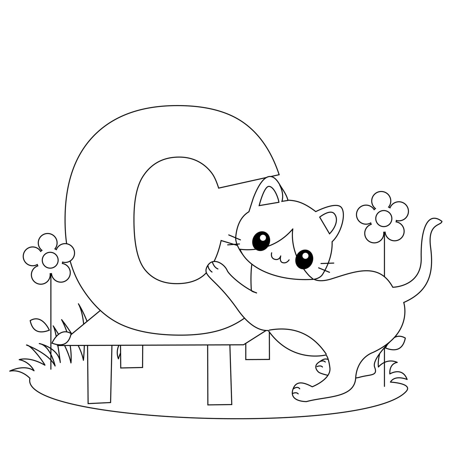 alphabet coloring pages letter c