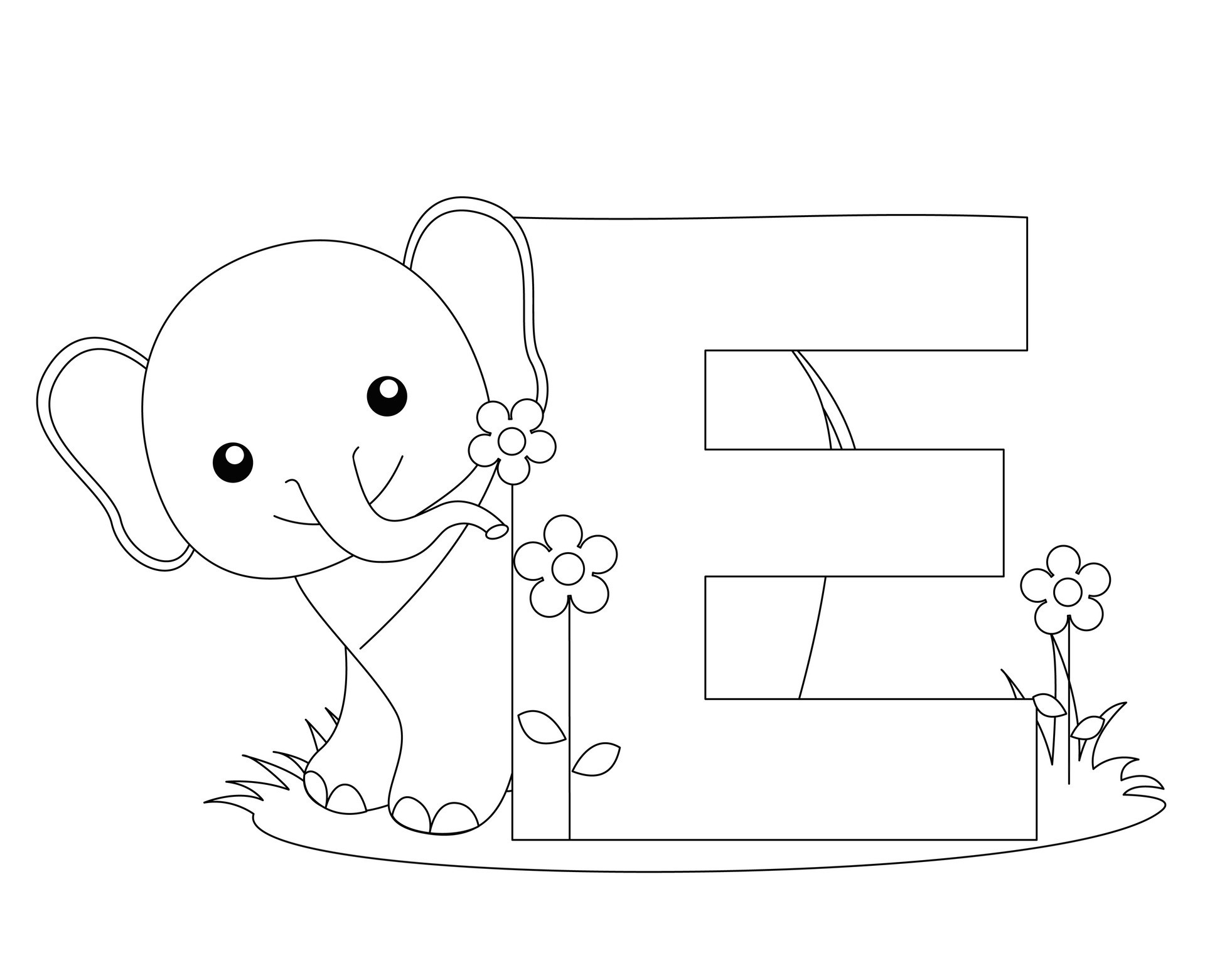 Alphabet coloring pages letter e
