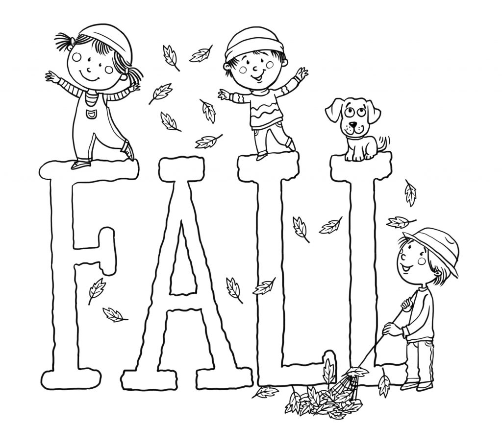 Color the picture and the word fall in this fun fall coloring page for kids.