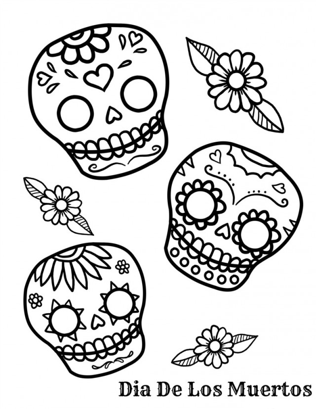 free skulls for coloring day of the dead