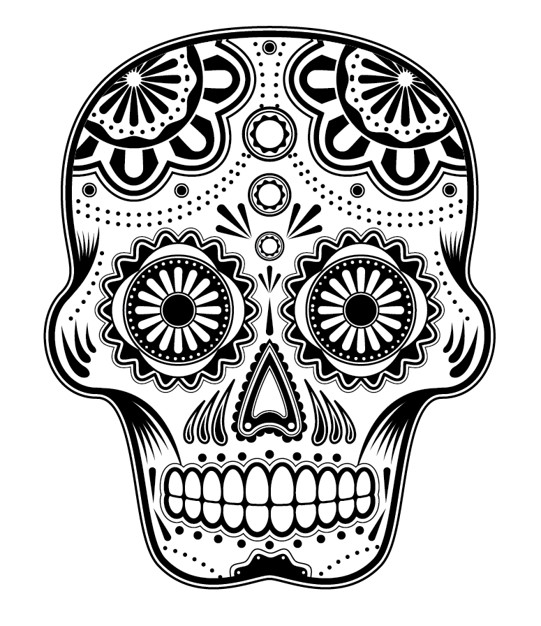printable day of the dead coloring art skulss