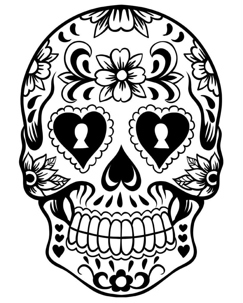 skull art day of the dead coloring