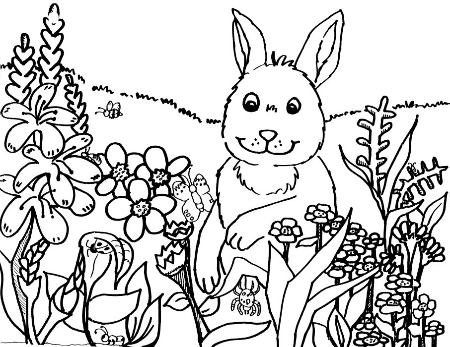 Bunny And Spring Flowers Coloring Page