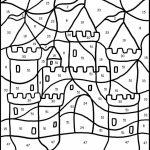 Castle Color by Big Numbers Worksheet