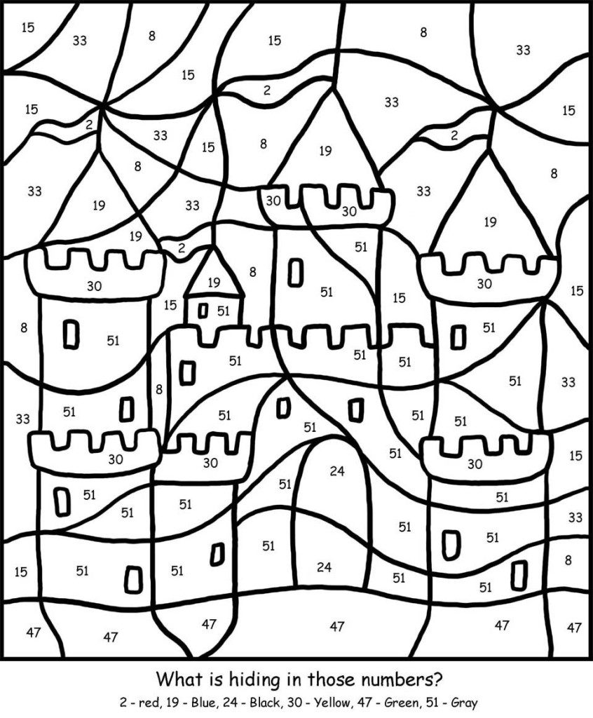 Castle Color by Big Numbers Worksheet