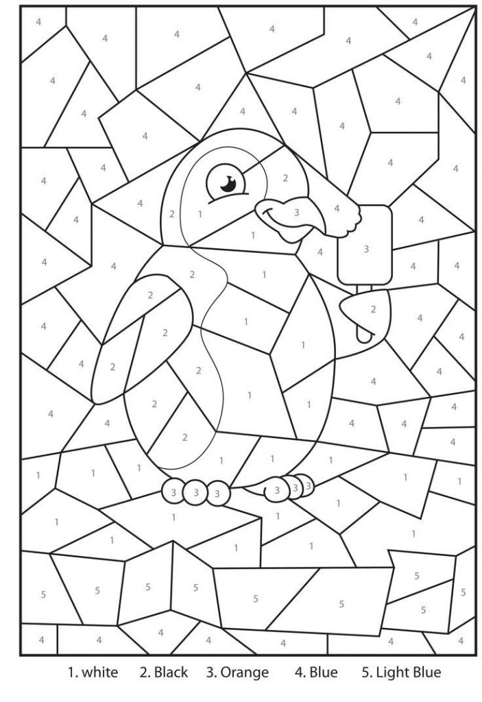 Easy Penguin Color by Number Coloring Page