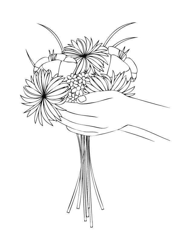 Handful Of Flowers Coloring Page
