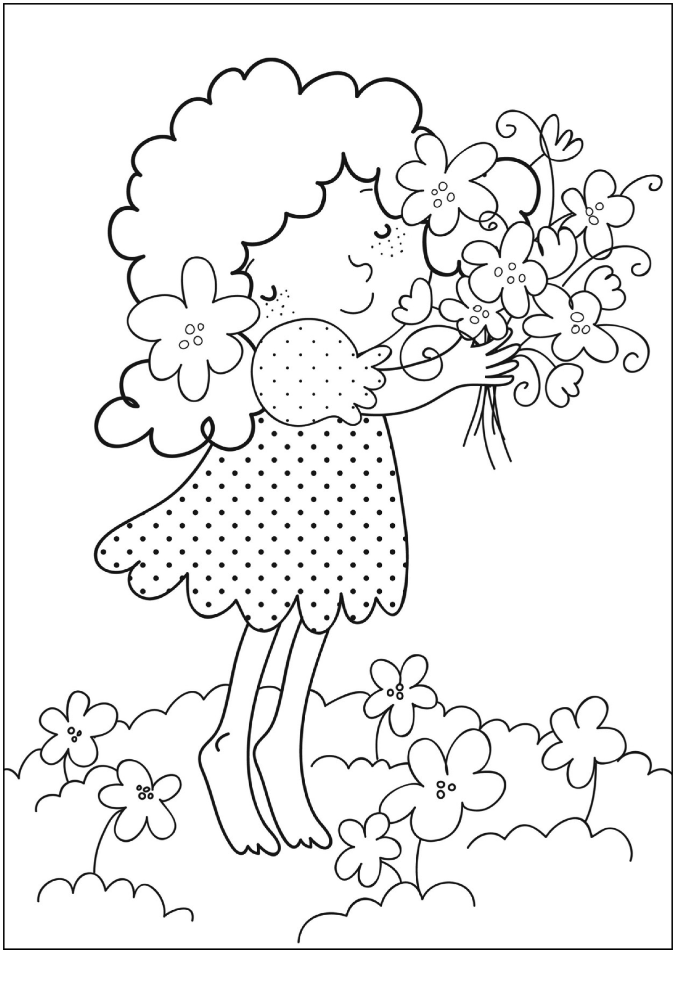 Printable flower bouquet coloring pages coloring page for Coloring pages for kids flowers