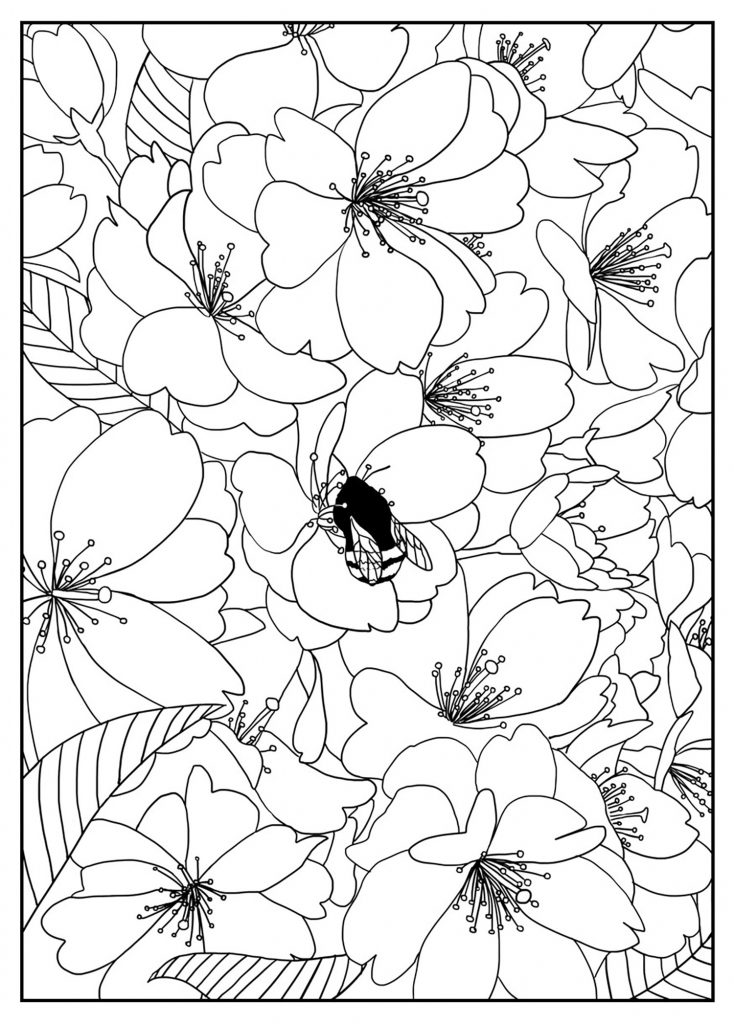 free pattern flower coloring page