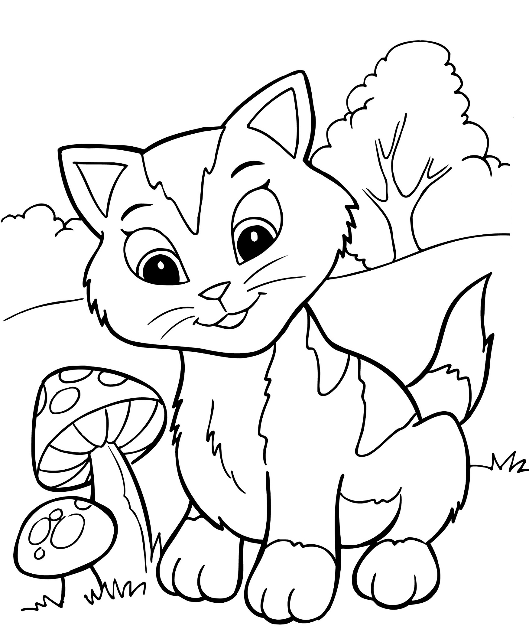 Free printable kitten coloring pages for kids best for Coloring page book