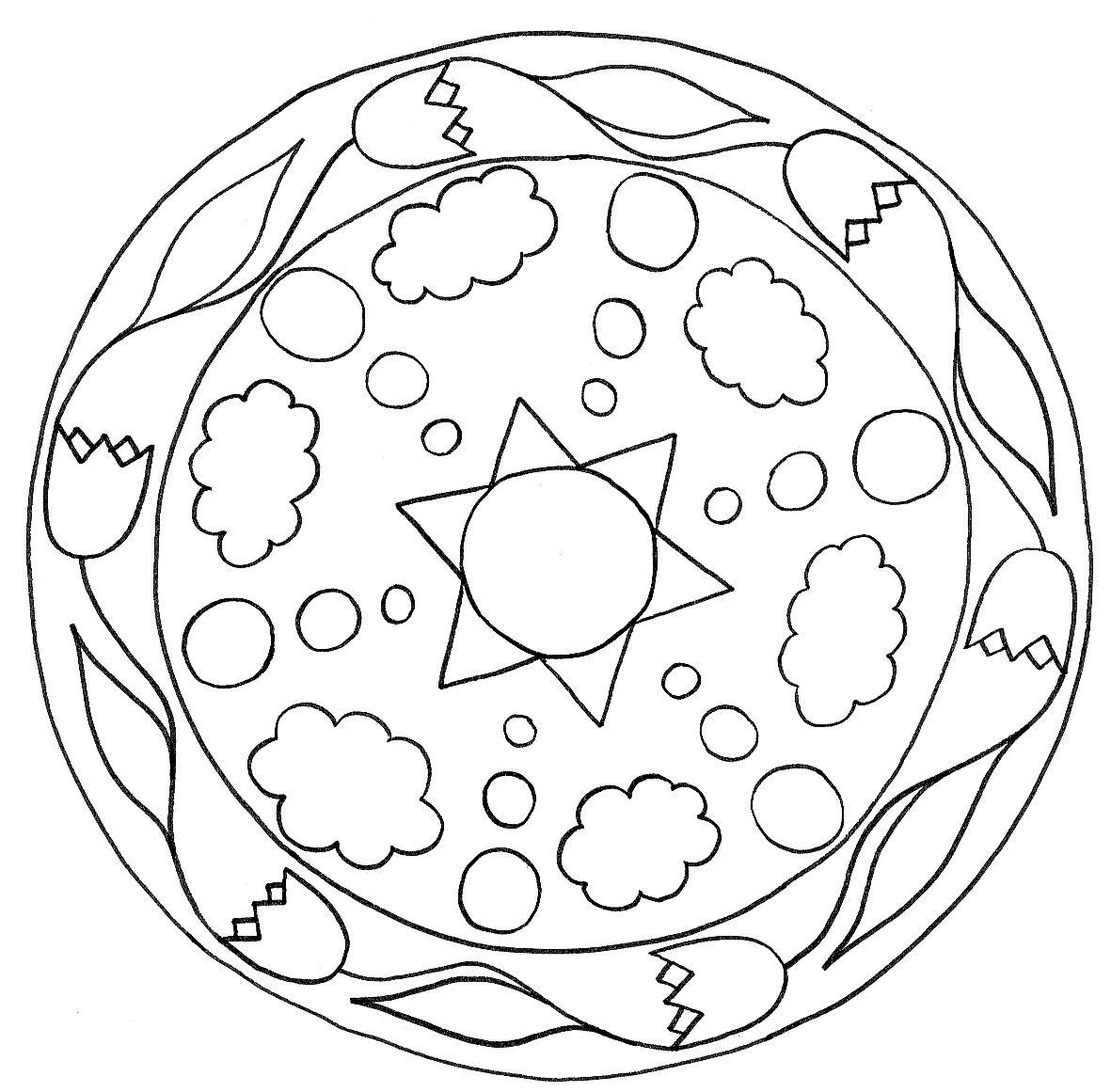 Simple mandalas for kids coloring