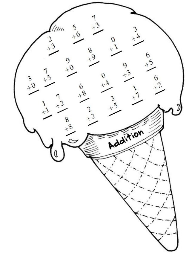 Ice Cream Addition Math Work Sheet