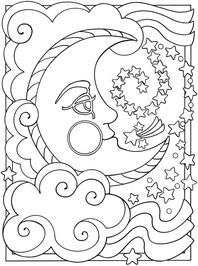 This is a picture of Magic Sun And Moon Coloring Pages