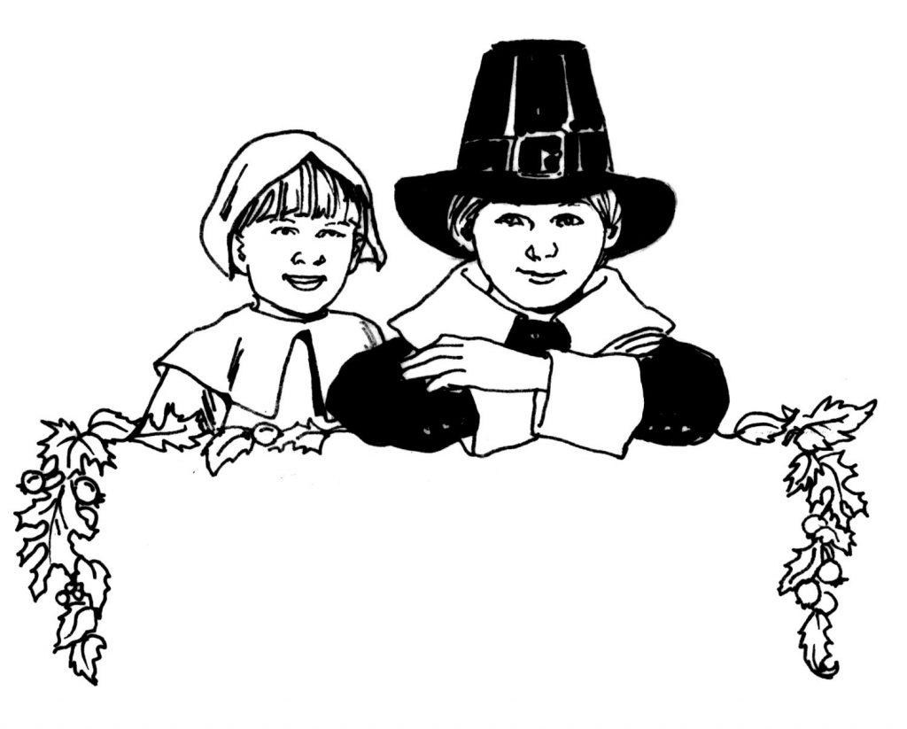 Pilgrim Children Coloring Page
