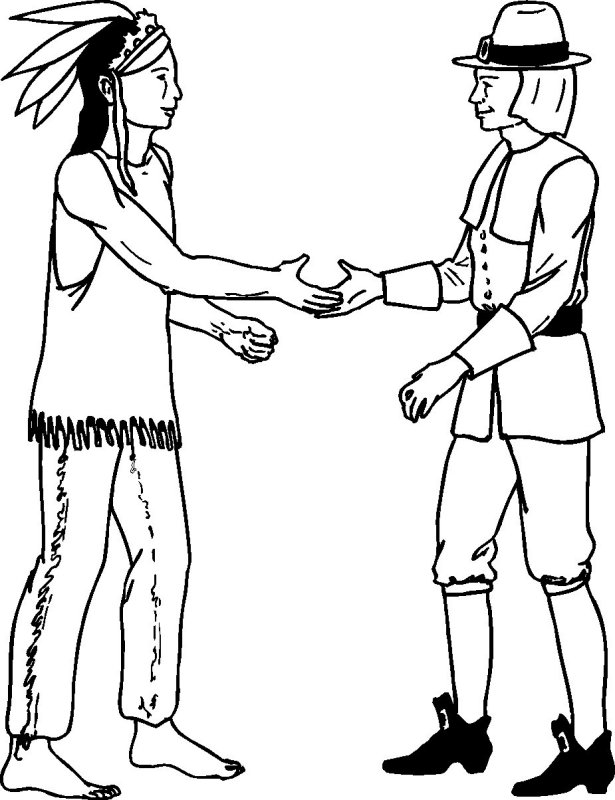 Free printable pilgrim coloring pages for kids best for Indian coloring pages for thanksgiving