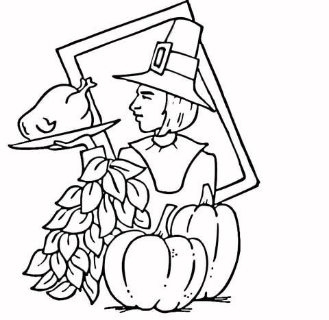 Free Printable Pilgrim Coloring