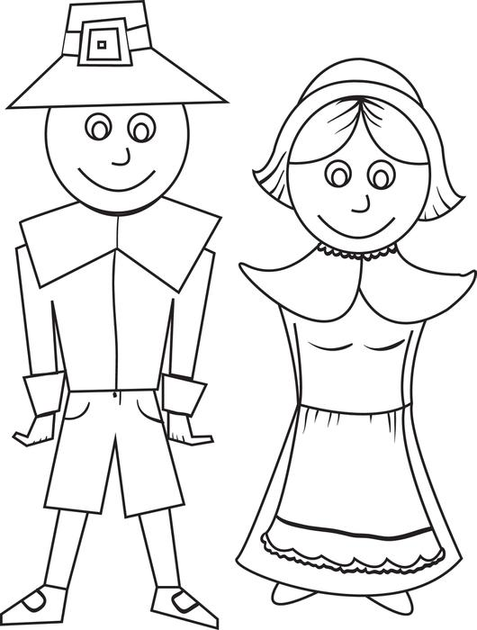 simple-pilgrim-couple-coloring-pages