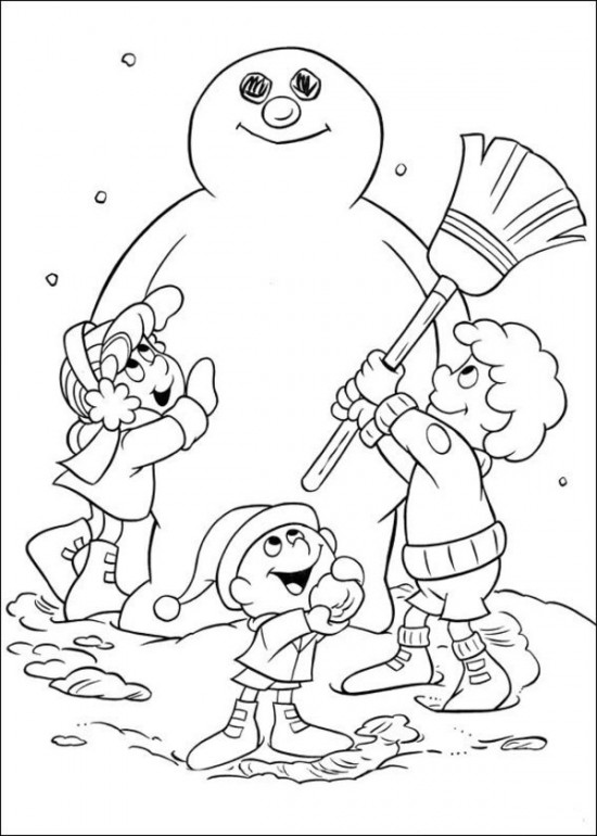 Coloring Pages Snowman Family