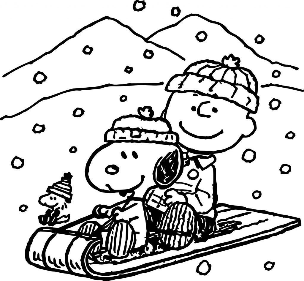 Charlie Brown Christmas Sledding Coloring Page