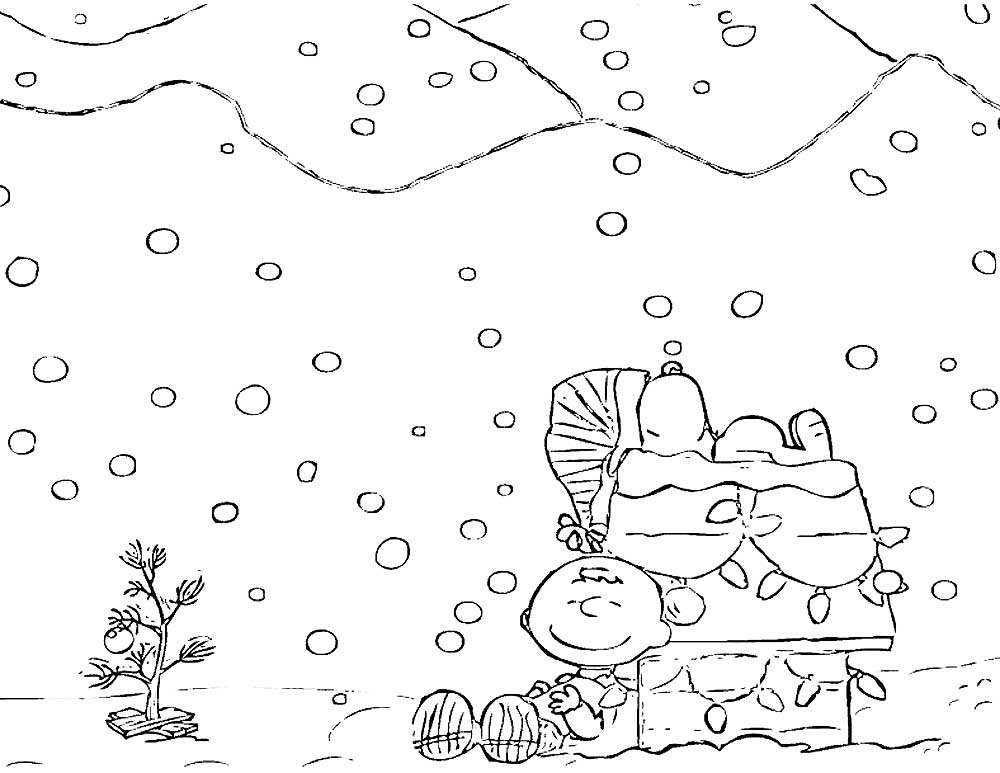 Charlie Brown Scene Coloring Page