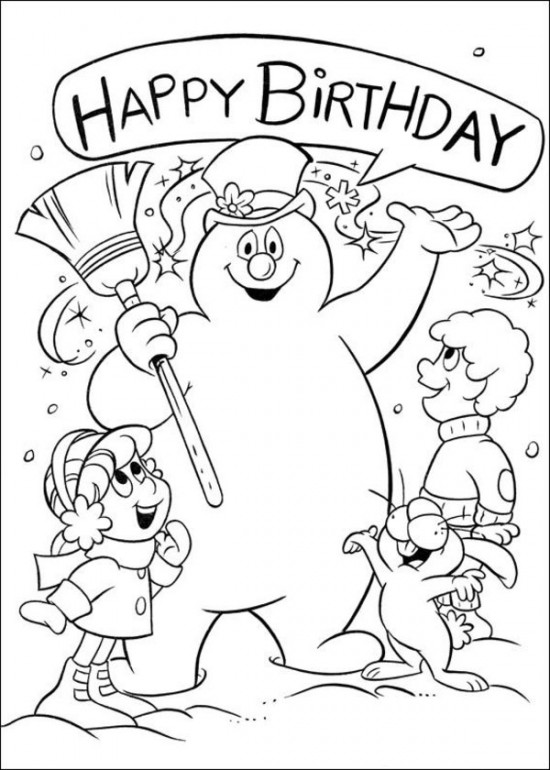 Frosty the Snowman coloring page happy birthday