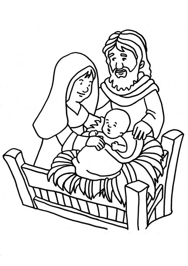 Mary Joseph Jesus Nativity Coloring Page