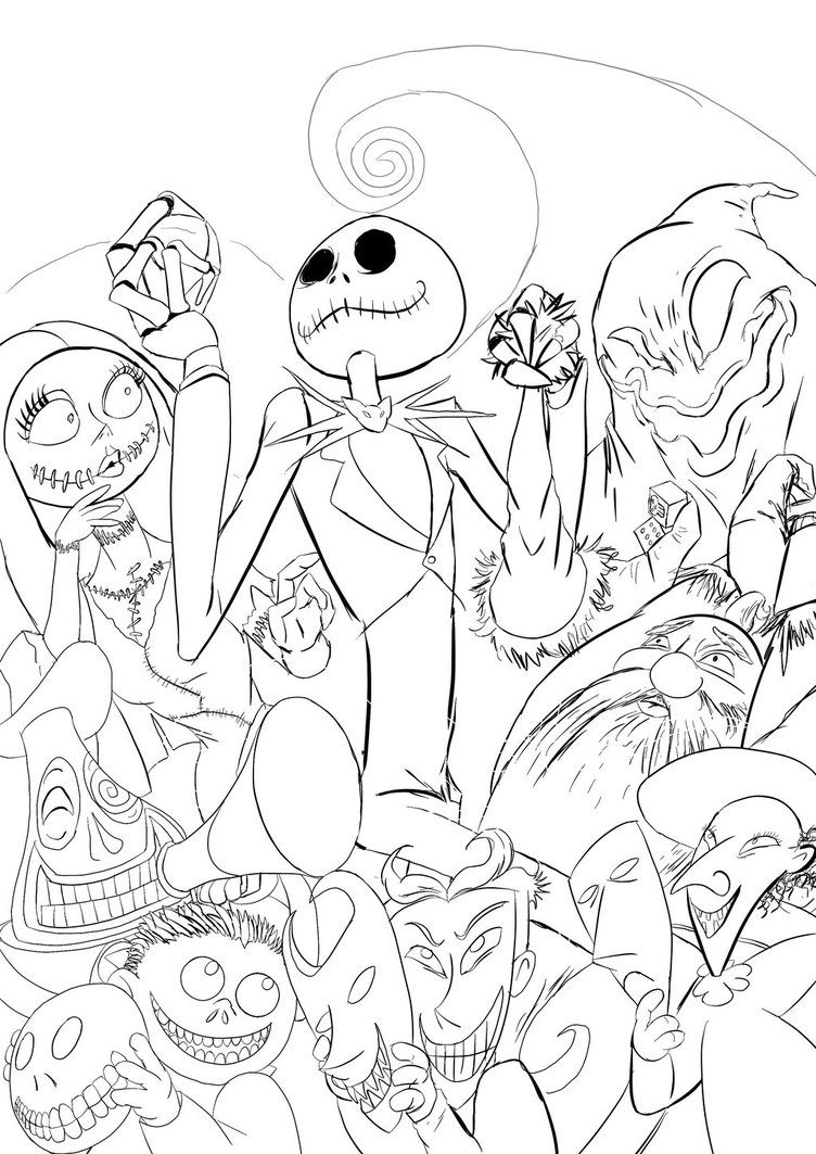 Nightmare Before Christmas Characters Coloring Page