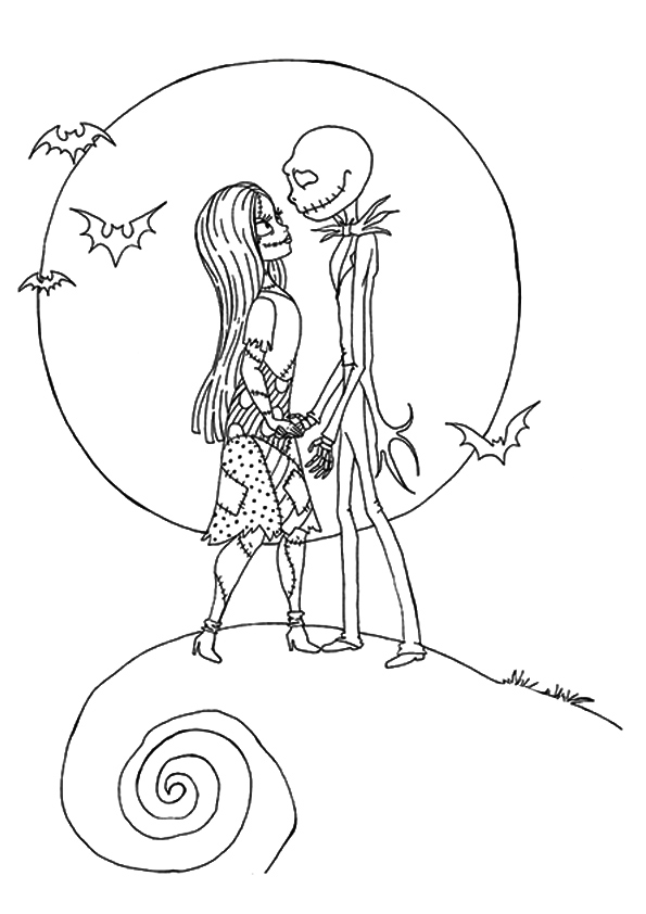 Nightmare Before Christmas Jack And Sally Coloring Page