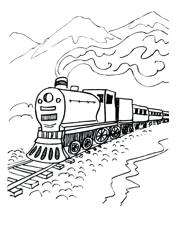 Polar Express Train In The Mountains Coloring Page