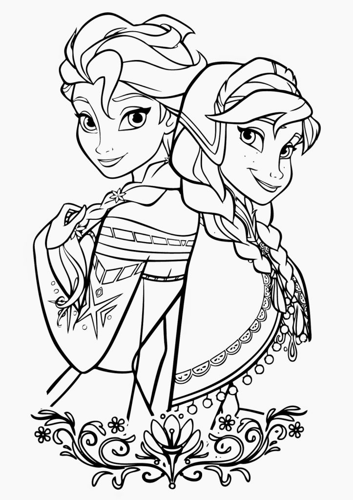 Printable Elsa and Anna Coloring Pages