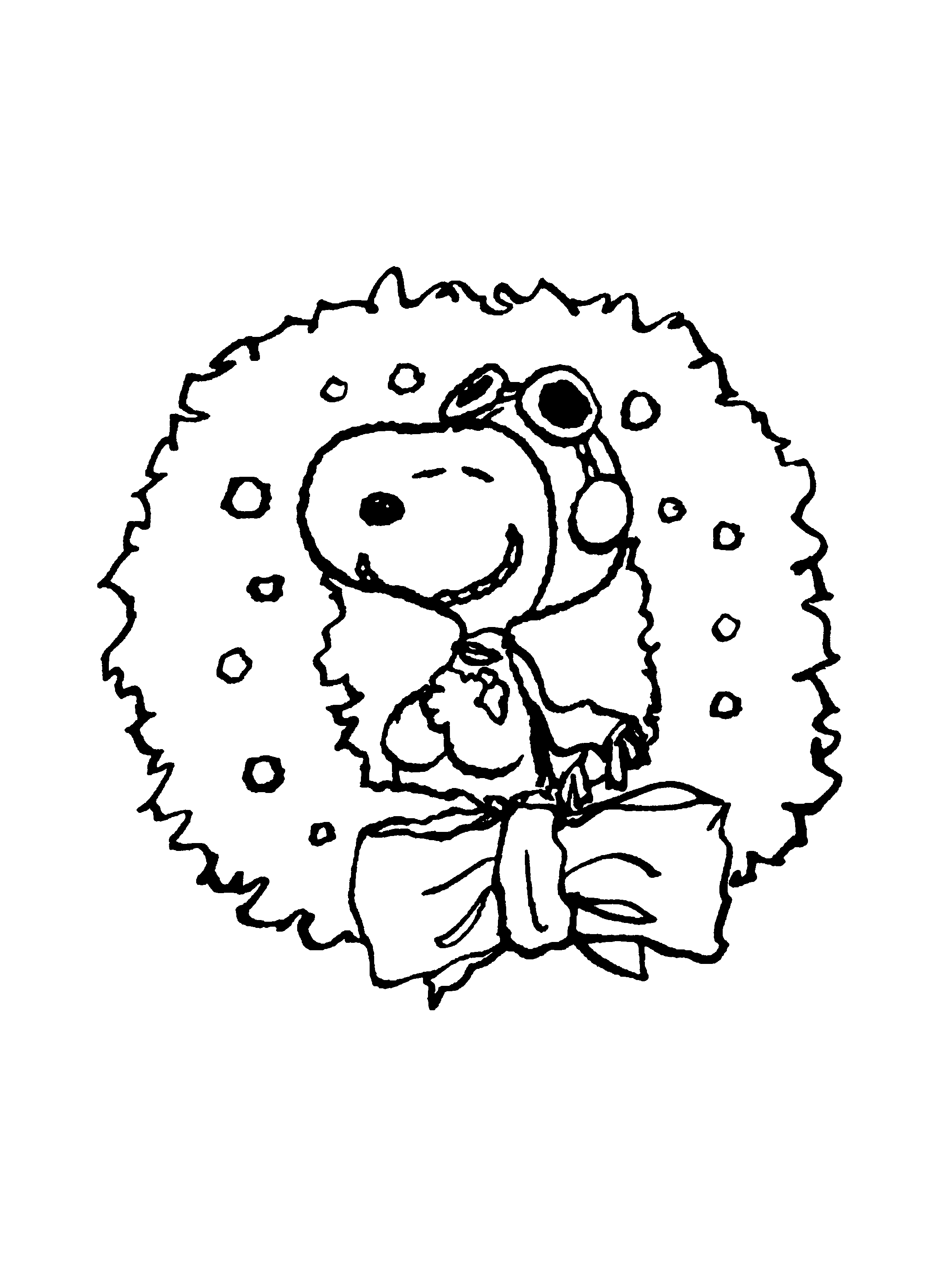 Red Baron Snoopy In Christmas Wreath Coloring