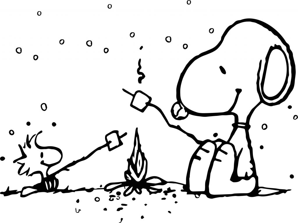 Snoopy And Woodstock Winter Fire Coloring Page