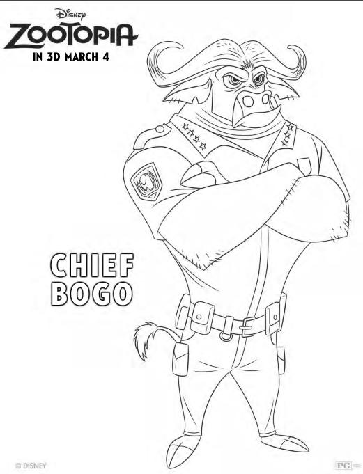 Zootopia Coloring Pages - Chief Bogo