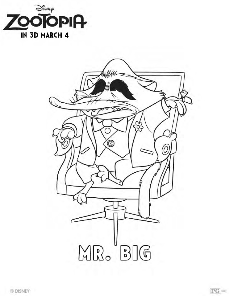 Zootopia Coloring Pages - Mr. Big