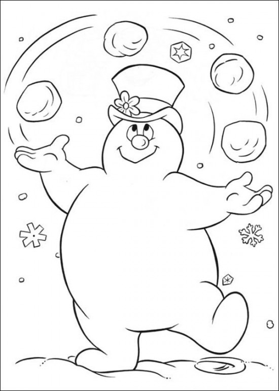 color Frosty the Snowman juggling
