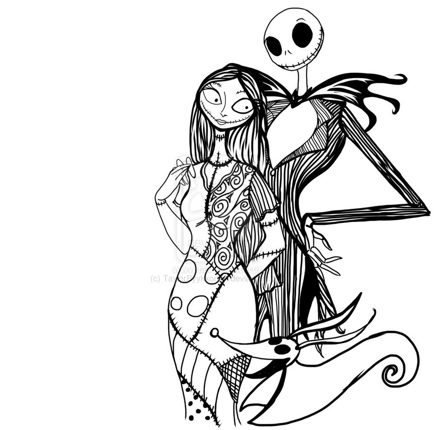 jack and sally coloring pages Free Printable Nightmare Before Christmas Coloring Pages   Best  jack and sally coloring pages