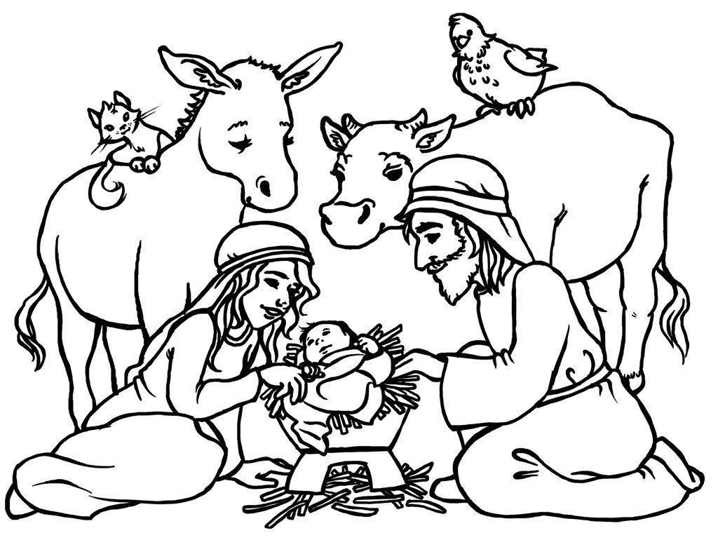 Nativity Scene Coloring Page with Animals