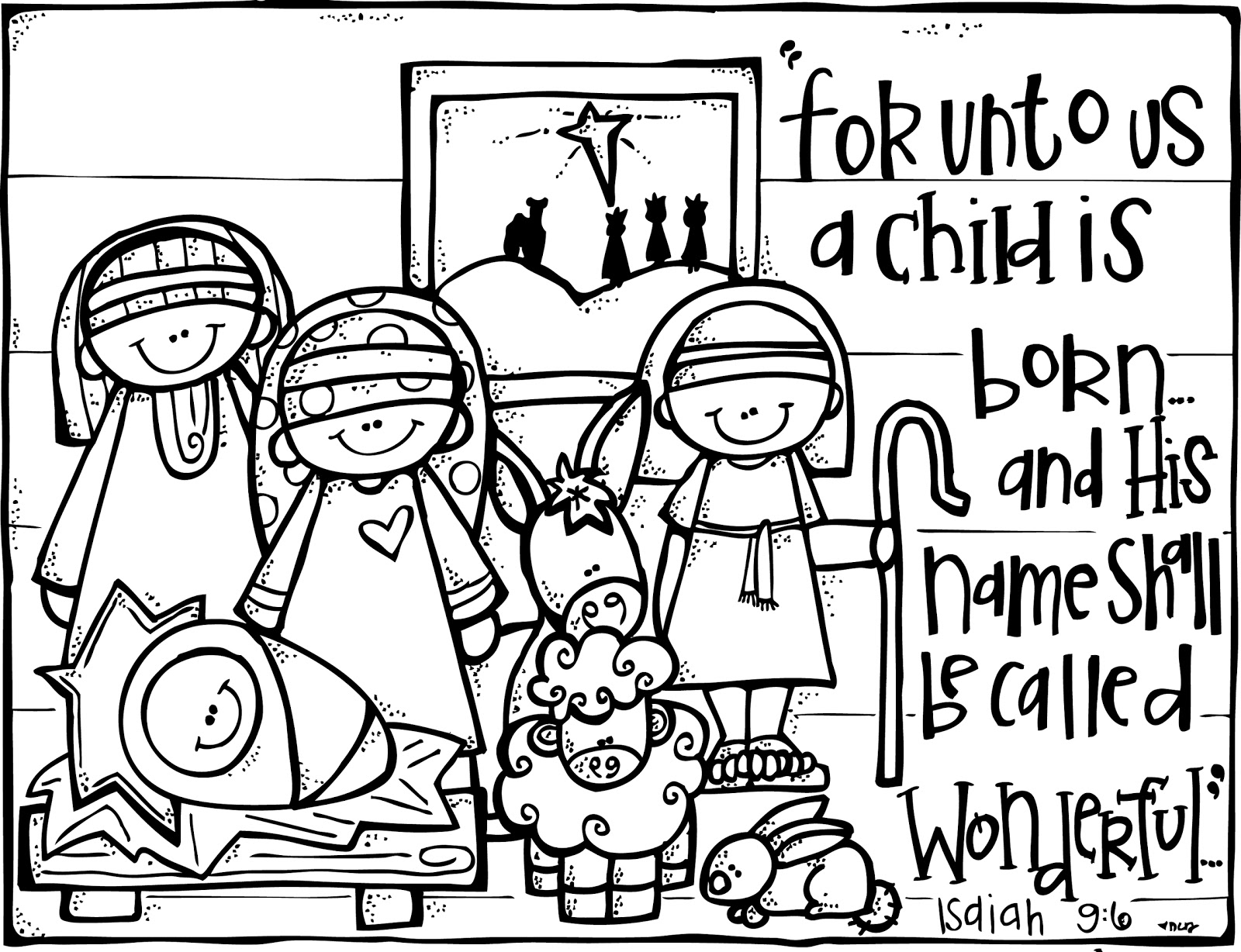 Nativity coloring page isaiah 96