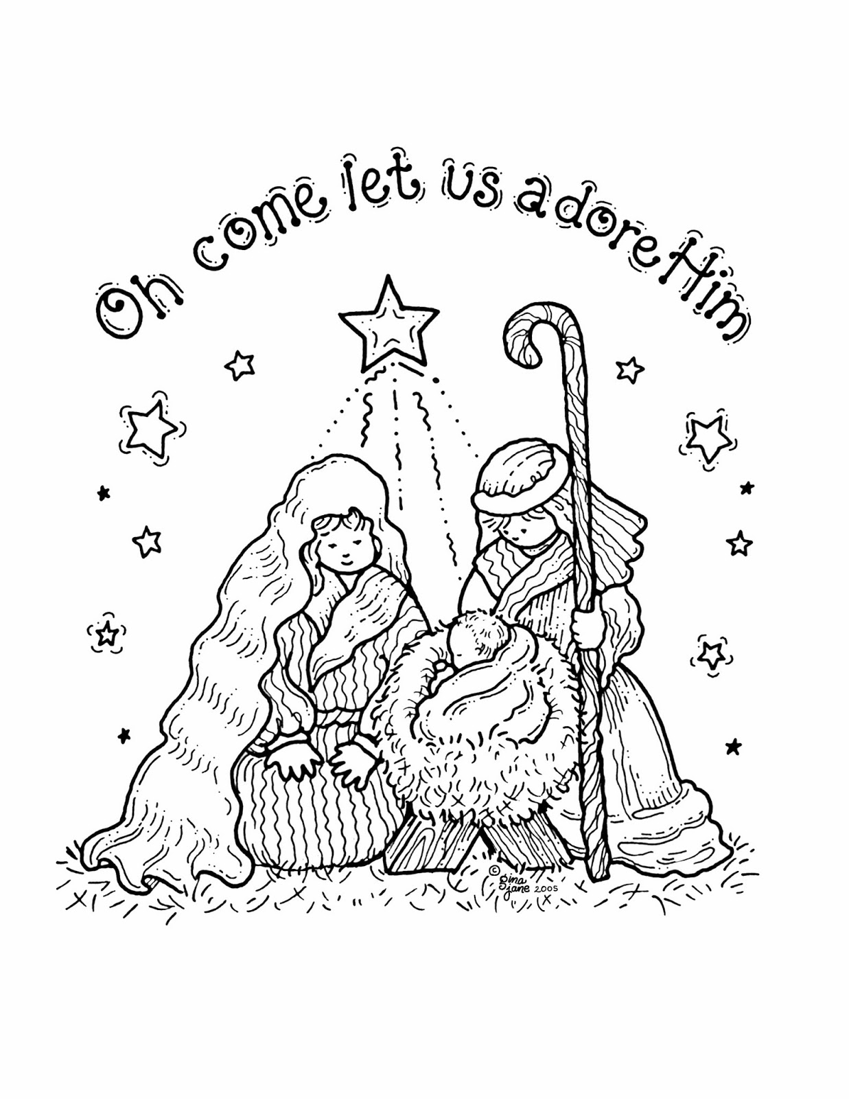 graphic regarding Free Printable Nativity Scene called Free of charge Printable Nativity Coloring Webpages for Young children - Least complicated