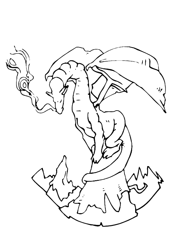 Fantasy Coloring Pages Mountaintop Dragon
