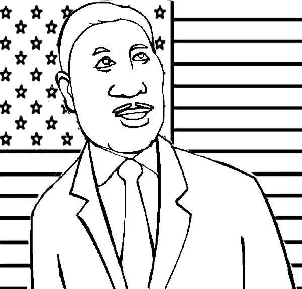 Mlk And American Flag Coloring Page Drawing